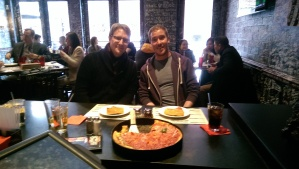 Me and my friend and fellow geographer Edward-John eating Chicago deep dish pizza. Almost everyone in this restaurant was a geographer